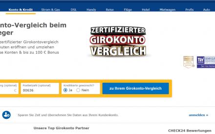 Ein Screenshot des Vergleichsportals Check24 mit prominentem Vergleichbutton